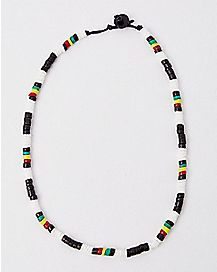 Black White Rasta Beaded Necklace