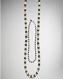 Brown and White Wood Necklace