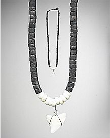 Black Wood Shark Tooth Necklace