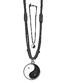 Leather Yin and Yang Necklace