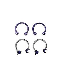 Moon and Star Horseshoe Rings 4 Pack - 16 Gauge