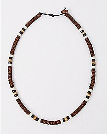 Brown Black White Beaded Necklace