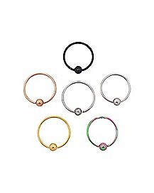 Captive Hoop Nose Rings - 20 Gauge