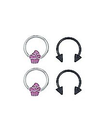 Cupcake Captive And Horseshoe Rings - 16 Gauge - 4 Pack