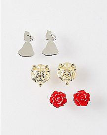 Beauty and the Beast Stud Earrings 3 Pair - Disney