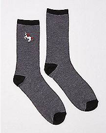 Embroidered Unicorn Crew Socks