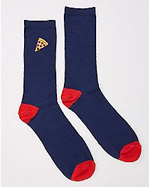 Embroidered Pizza Crew Socks