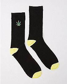 Embroidered Pot Leaf Crew Socks