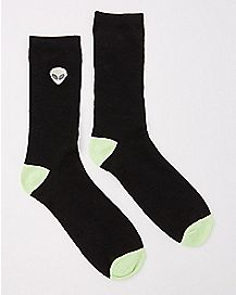 Embroidered Alien Crew Socks