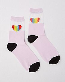 Sheer Top Rainbow Heart Crew Socks