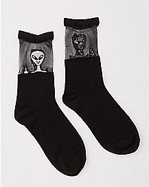 Sheer Top Alien Crew Socks