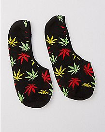 Rasta Pot Leaf No Show Socks - 2 Pack