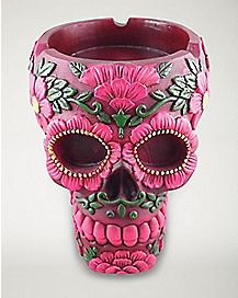Pink Green Skull Ashtray