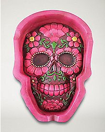 Flat Pink Green Skull Ashtray