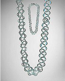 Pastel Tattoo Choker Necklace - Blue
