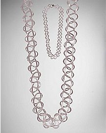Pastel Tattoo Choker Necklace - Pink