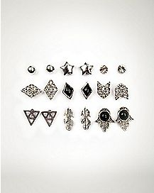 Multi-Pack Hamsa Feather Earrings - 9 Pair