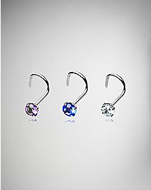 Multicolor CZ Screw Nose Ring 3 Pack - 20 Gauge