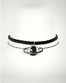 Braided Suede Planet Choker Necklace