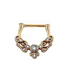Rose Gold Filigree CZ Clicker Septum Ring - 16 Gauge