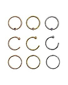 Hoop Nose Ring 9 Pack - 20 Gauge