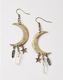 Moon Star Crystal Dangle Earrings