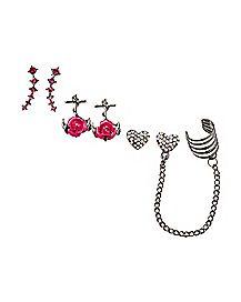Rose Anchor Heart Cuff Earrings - 3 Pair