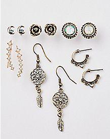 Rose Dreamcatcher Earrings - 6 Pair
