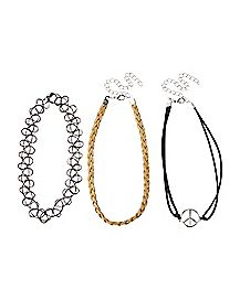Braided Peace Sign Tattoo Choker Necklaces - 3 Pack