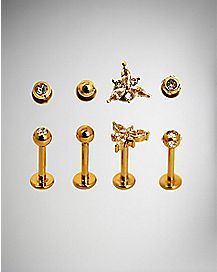 Ornate Labret Lip Ring 4 Pack - 16 Gauge