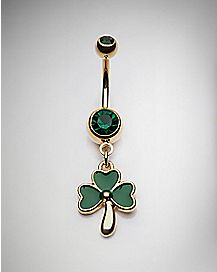 Green Clover Dangle Belly Ring - 14 Gauge