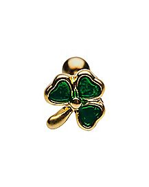 Green Clover Cartilage Earring - 18 Gauge
