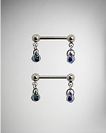 Beaded Dangle Barbell Nipple Rings 1 Pair - 14 Gauge