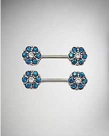 Flower CZ Barbell Nipple Rings- 14 Gauge