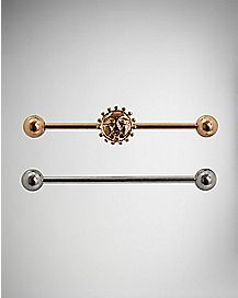 Rose Gold and Silver Industrial Barbell Set - 14 Gauge