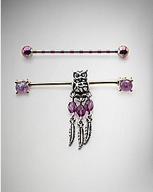 Owl Dangle Industrial Barbell 2 Pack - 14 Gauge