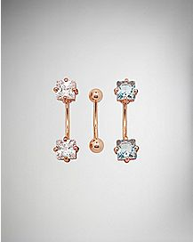 Cz Rose Gold-Plated Eyebrow Rings 3 Pack - 16 Gauge