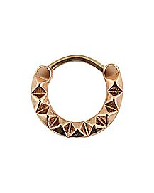 Rose Gold Geometric Clicker Septum Ring - 16 Gauge