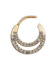 Rose Gold-Plated Cz Clicker Septum Ring - 16 Gauge