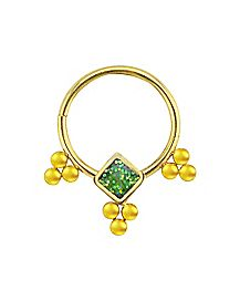 Gold-Plated Jade-Effect Clicker Septum Ring - 18 Gauge