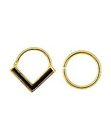 Gold-Plated Seamless Septum Rings 2 Pack - 16 Gauge