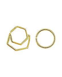 Geo Gold-Plated Seamless Septum Rings 2 Pack - 16 Gauge