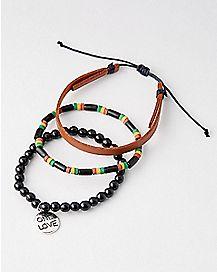 Rasta Bob Marley Bracelets - 3 Pack