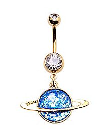 Saturn Dangle Belly Ring - 14 Gauge