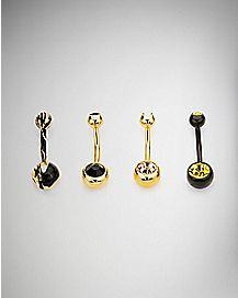 Gold and Black CZ Belly Rings 4 Pack - 14 Gauge