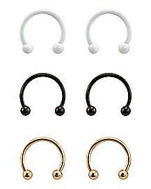Gold-Plated White and Black Horseshoe Rings 6 Pack - 16 Gauge