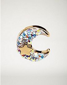 Gold-Plated Crescent Moon Cartilage Earring - 18 Gauge
