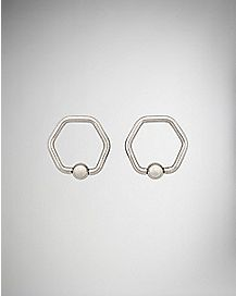 Hexagon Captive Rings - 14 Gauge