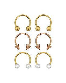 Pearl Spike Horseshoe Rings 3 Pair - 16 Gauge