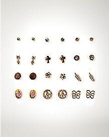 Rose Gold-Plated Multi-Pack Stud Earrings - 12 Pair